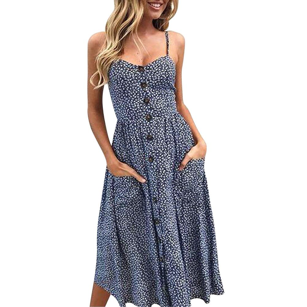 fc00f334cf05a 2019 Fashion 2018 Summer Dress Women Sexy Printing Buttons Off Shoulder  Sleeveless Sling Beach Dresses Super Quality Vestido From Hoto, $34.46 |  DHgate.Com