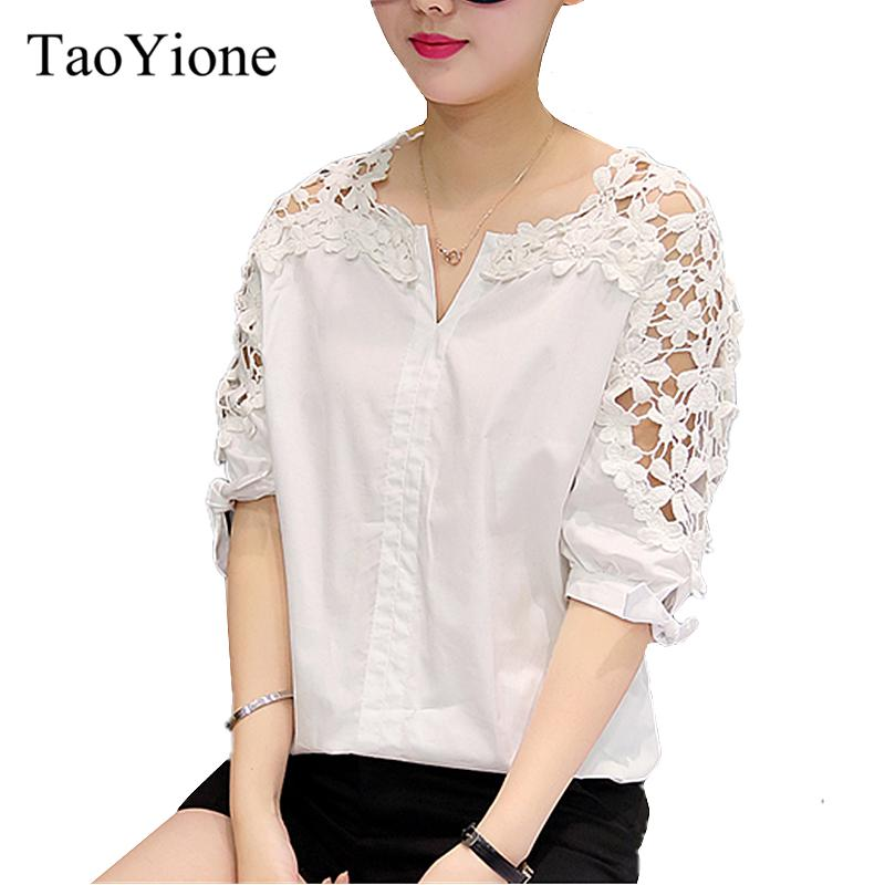 b1b03bbee3 2019 Plus Size Lace Blouses Women 2018 Summer Style White Fashion Hollow  Out V Neck Tops Cotton Shirt Ladies Loose Work Wear Clothing From Yujian18,  ...