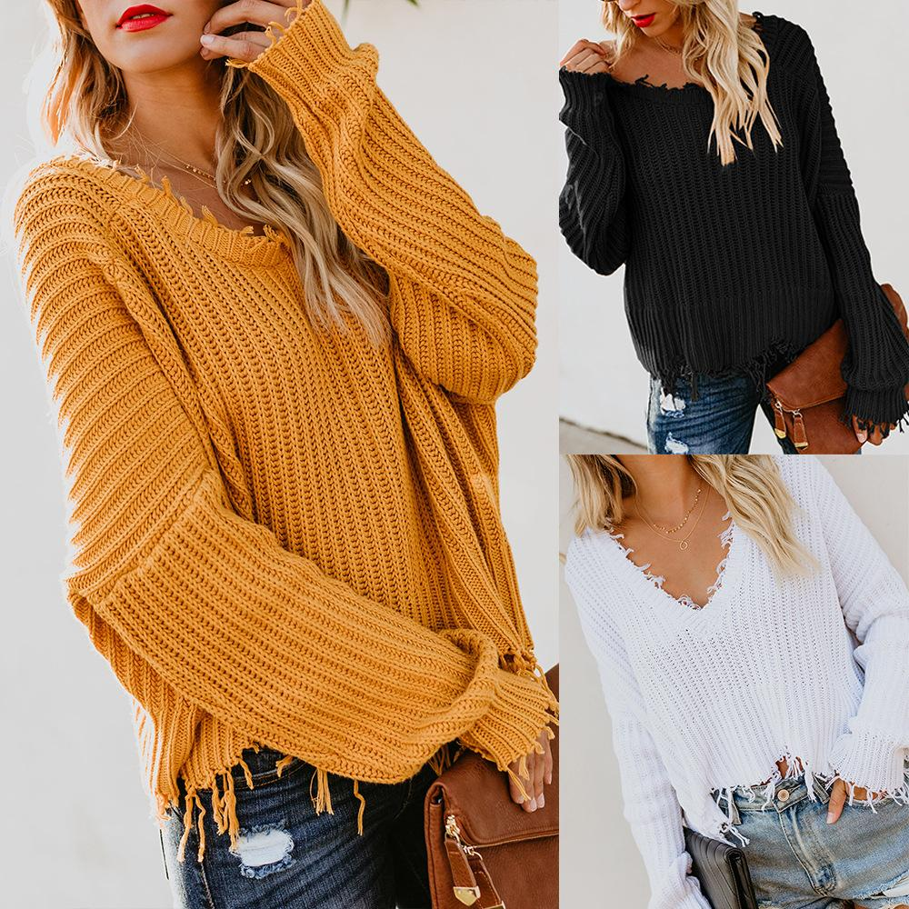 Women Fashion V,neck Loose Sweaters For Female Autumn Sexy Backless Long  Sleeve Knitted Pullovers Sweater Tops Outerwear