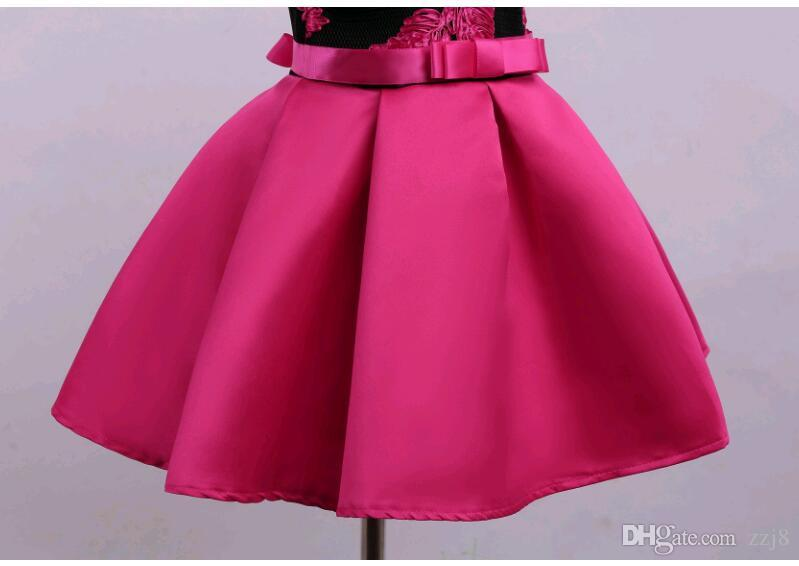 Nakış Çocuk Parti Elbiseler Avrupa ve Amerikan Tarzı Çocuk Kız Elbise fit 3-10 yaşında çocuk Kırmızı Mavi