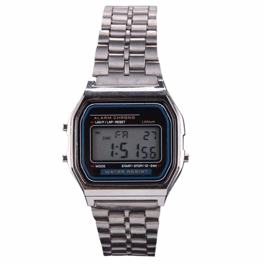 2e247f9ad87 Compre Moda De Prata De Ouro Relógios Homens Relógio Digital Display Digital  Eletrônico Relógio Estilo Retro De Boiline