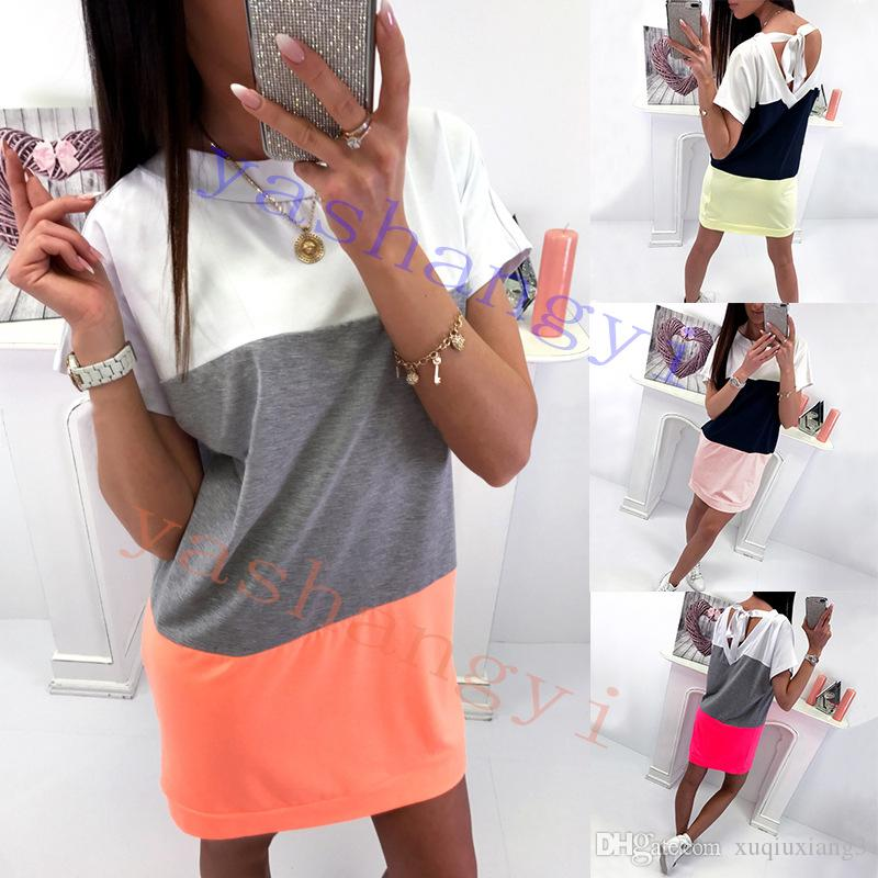 5bf02c57f0c Back V Neck Patchwork Dress Women Color Block Round Neck Short Sleeve Shift  Dress 2018 Casual Dresses Party Dress Sequin Dresses From Xuqiuxiang3
