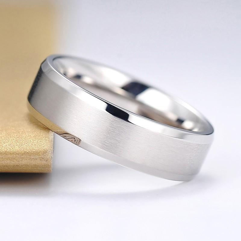 2019 6mm Width Titanium Ring Stainless Steel Brushed Matte Comfort