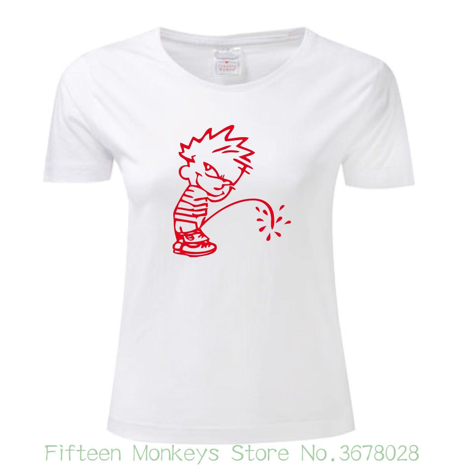 b884baa385 Women s Tee T-shirt Bambino Pipi Wee Wee Maglietta Maglia Uomo Donna Man  Woman Moda Comica Casual Funny Tee Shirt Femme