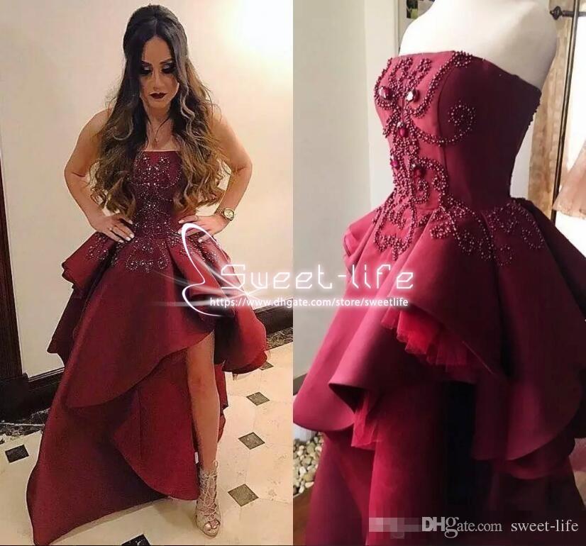2018 asymétrique bourgogne robes de bal nouveau bretelles avec perlée sans bretelles basque formelle cristal personnalisé robes de soirée