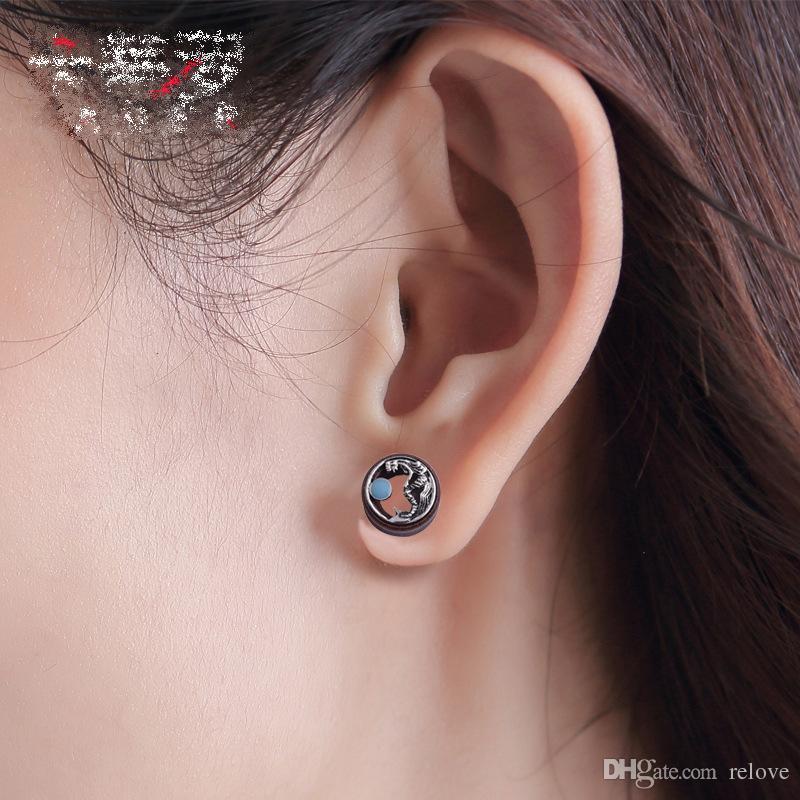 2018 Nueva antigüedad de la sirena Piercing Túneles Ear Plugs Gauges Wood Body Jewelry Ear Expander 316L acero médico joyería del cuerpo