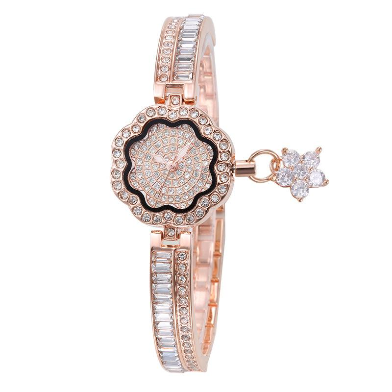 Brand noble woman watches petals full rhinestone fashion trend quartz bracelet watch ladies gift Montre Femme zegarek damski