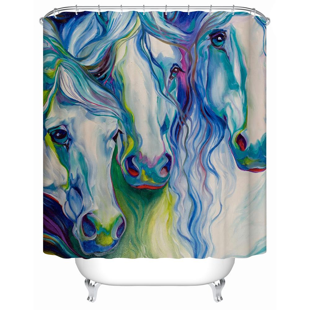 2019 2016 New Waterproof Shower Curtain Bathroom Colored Horse Eco Friendly Fabric Accept Custom Y 055 From Starch 2396