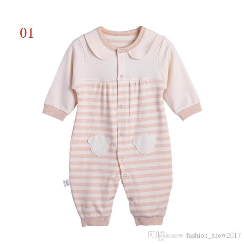 أحدث الوليد طفلة الفتيان طويلة الأكمام الدب المطبوعة ربيع الخريف الرضع بذلة الجسم القصير وتتسابق الملابس