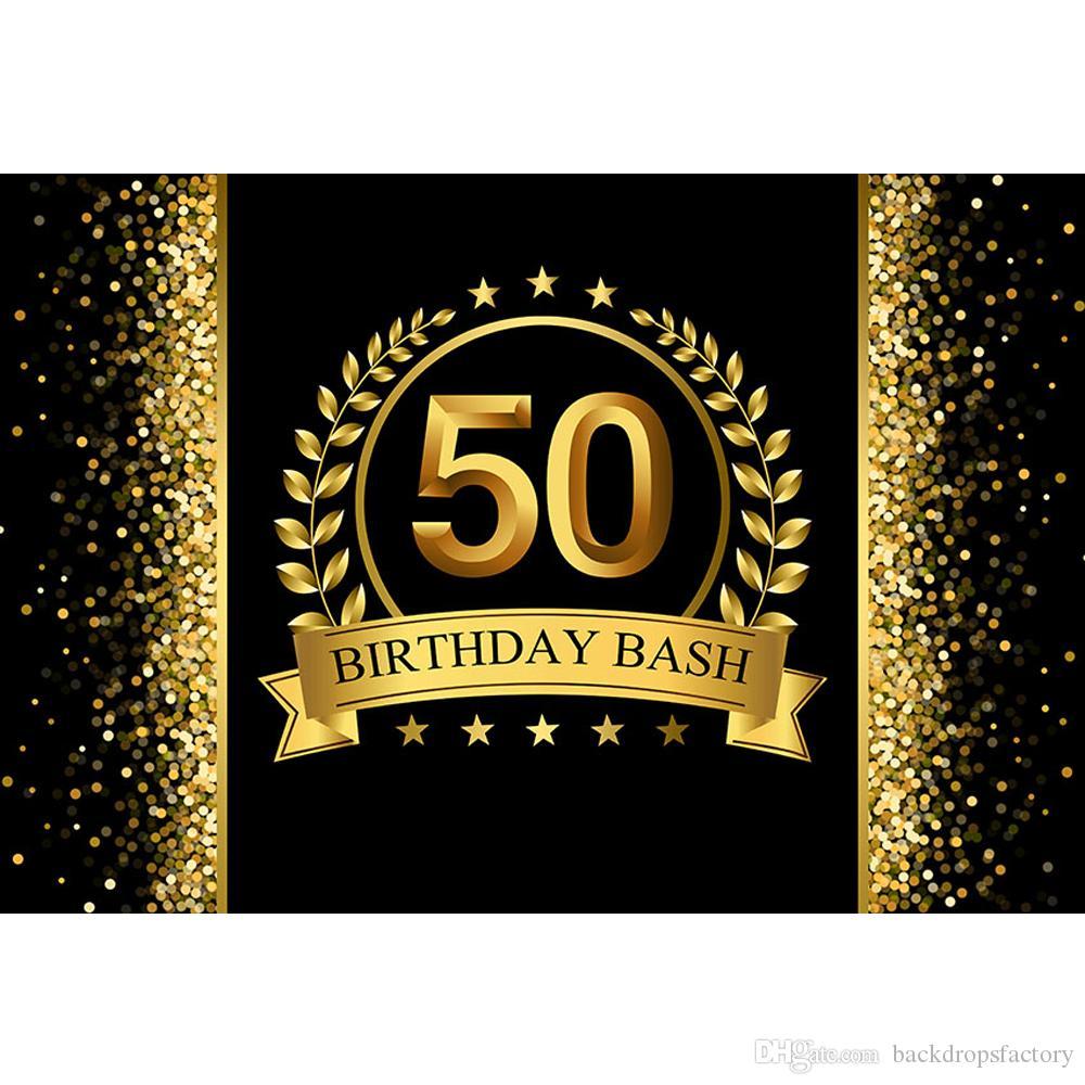2019 Customized 50th Birthday Bash Backdrop Black Printed Gold Ribbon Stars Bokeh Polka Dots Party Theme Photo Booth Background Vinyl From Backdropsfactory