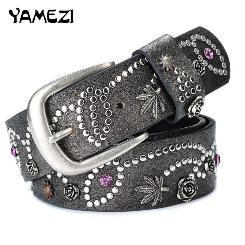 YAMEZI New PU Individuality Rivet Inlay Ancient Belt For Women Fashion Pin  Buckle Waist Women Belts Luxury Leather Belt Female Belts For Men Weight  Lifting ... 0fa2c846e200