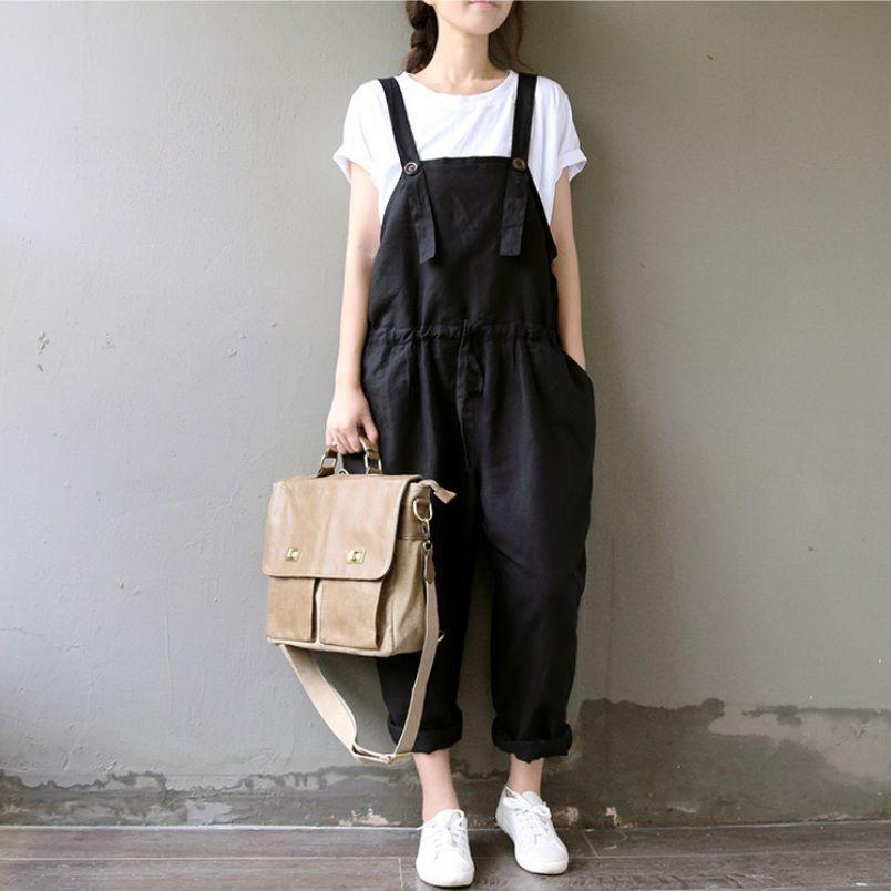2f579621587 Summer Cotton Linen Overalls Women Plus Size Suspenders Harem Pants Women  Casual Jumpsuit Trousers M L XL UK 2019 From Florence33