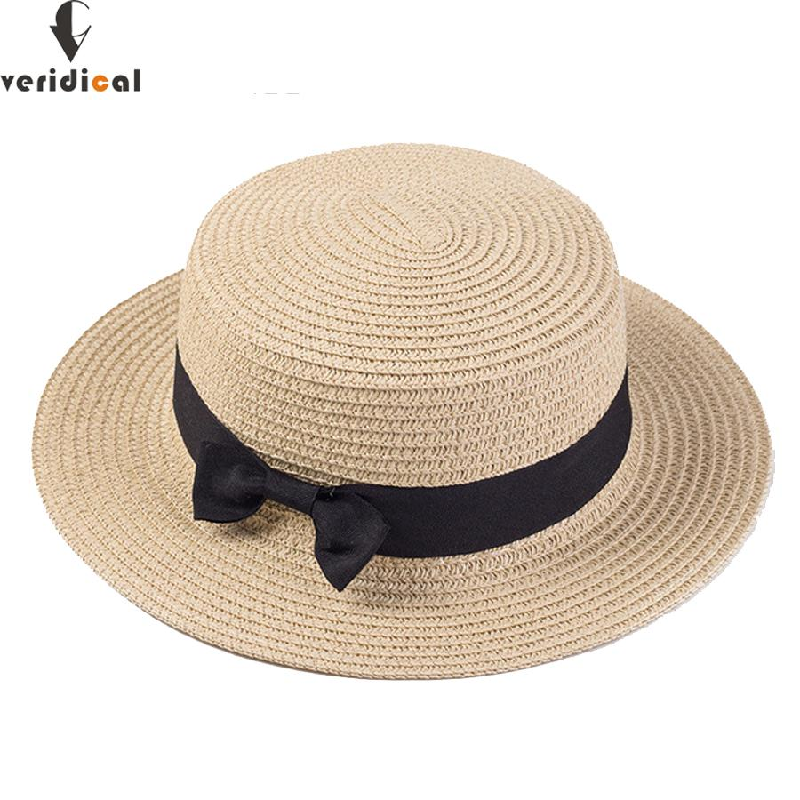 986289ec VERIDICAL Lady Boater Sun Caps Ribbon Round Flat Top Straw Beach Hat Panama  Hat Summer Hats For Women Straw Snapback Gorras Mens Hat Styles Hat From  Juemin, ...