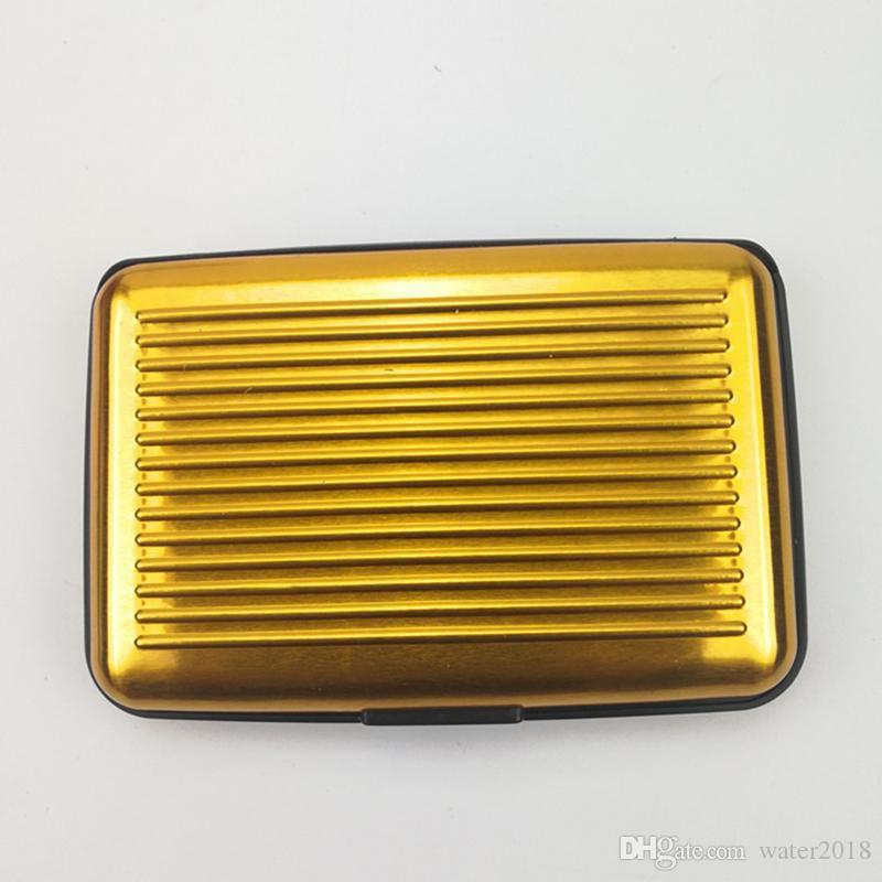 Titulares de Cartão de Alumínio Mini Liga de alumínio Upscale Stripe Resistente À Água Carteira de Aluma Colorido Tampa Do Cartão Caso Novo 287
