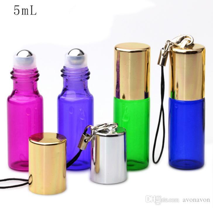 Empty Mini Fragrance Perfume 5ml Roll Glass Bottle Blue Roller Metal Roller Ball Bottle Essential Oil Sample Bottle a665