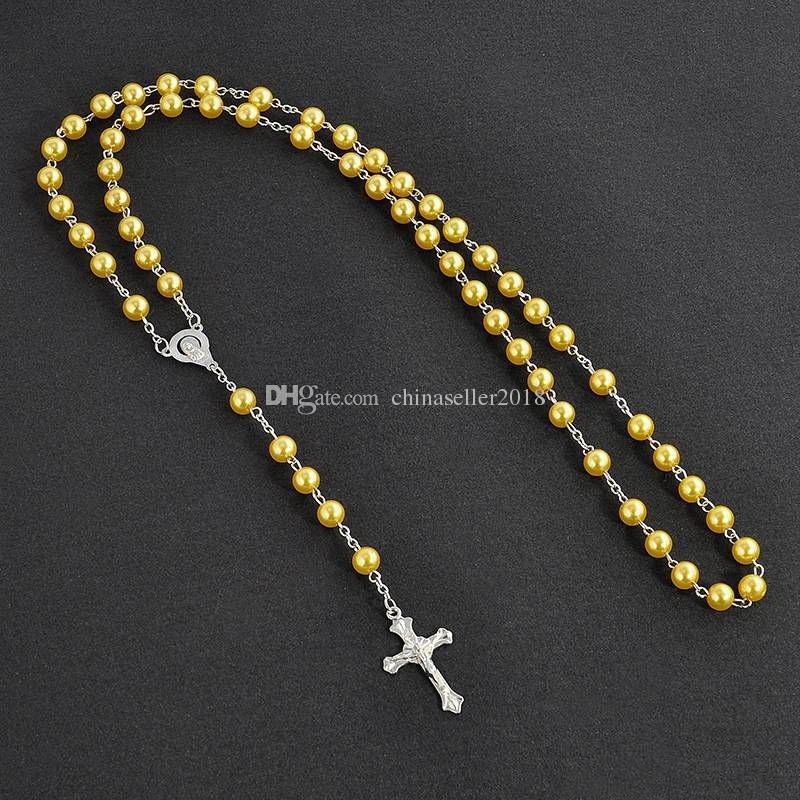 Посеребренные Крест Распятие Кулон Ожерелье Для Женщин Мужчины 28 Дюймов С Имитация Жемчуга Четки Бусины Цепи Ожерелье