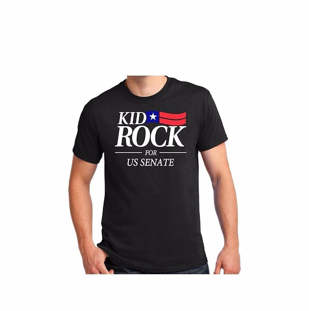 Custom Shirt Printing Men s Short Kid Rock FOR US SENATE T-SHIRT American  Bad Ass Black Tee S-6XL Zomer O-Neck T Shirts