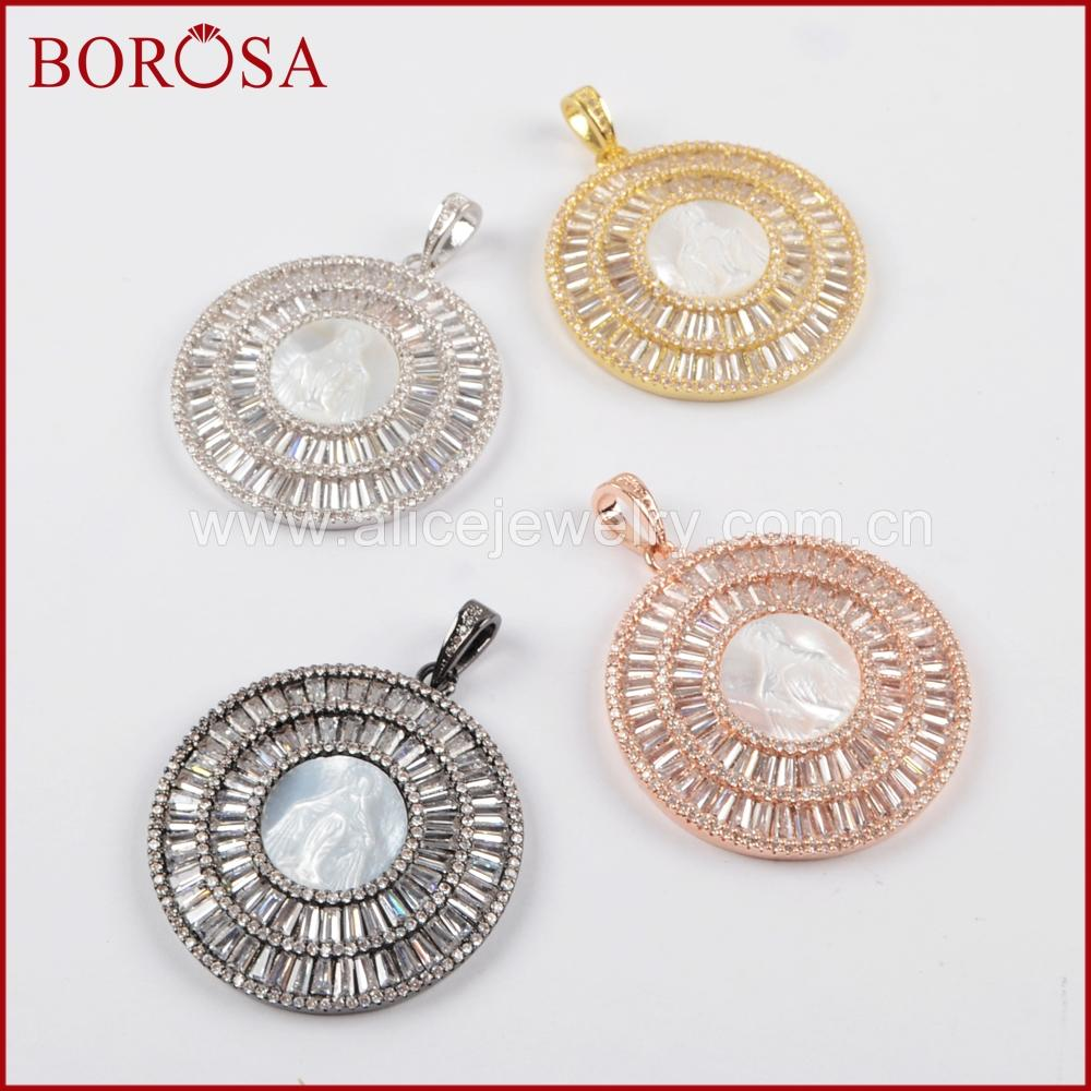 ff630201b58 2019 BOROSA 3 Multicolor CZ Micro Pave Crystal Round White Shell Pendant  Bead Druzy Jewelry Pendants For Necklace Making WX820 From Industrial