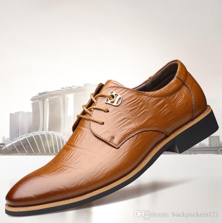 e5bf26a9996e 2018 Man Flat Luxury Design Classic Men Dress Shoes Genuine Leather Wingtip  Carved Italian Formal Oxford Brand Sexy Shoes Clogs For Women From ...