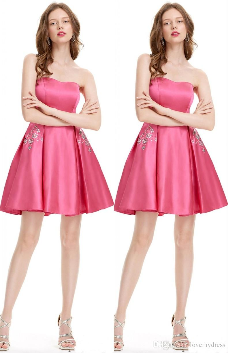 937c0b390b Hot Pink Cocktail Party Prom Dresses With Pockets Crystal Beaded Strapless  Satin A Line Ruched Evening Homecoming Dress Gowns 50s Cocktail Dress Black  ...