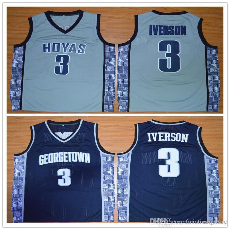 newest a8e69 9c194 3 Allen Iverson Jerseys Stitched Wake Forest College Navy Blue Grey  Basketball Jerseys, Size S-XXL