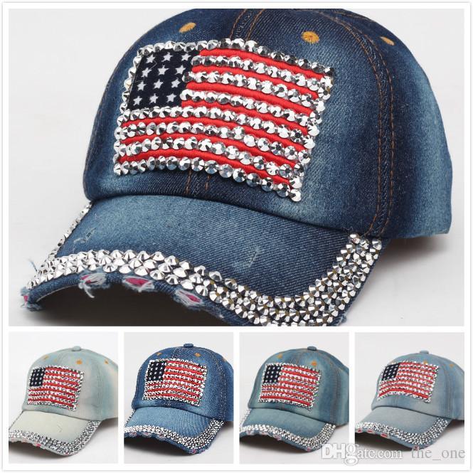ed63592d00e Fashion Fake Diamond American Flags Baseball Cap Red Striped Blue Stars  Denim Cloth Summer Sunshade Hat 4th July Girls Designers Hats UK 2019 From  The one