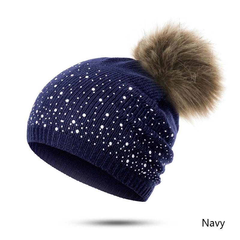 961f2860d4b38 URDIAMOND Winter Hat Women Cute Hot Selling Casual Solid Drilling Ball Cap  Warm Faux Fur Pom Pom Ball Girl  S Hat Hats Online Caps From Melontwo