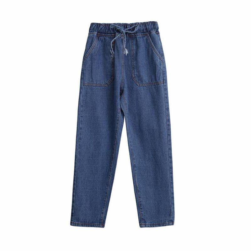Acquista Le Donne Allentano I Pantaloni Di Jeans A Vita Alta Con Coulisse  Jeans Cowboy Lavato Femminile Ragazze Di Strada Alta Elastico In Vita Jeans  ... 82c4d3b4792