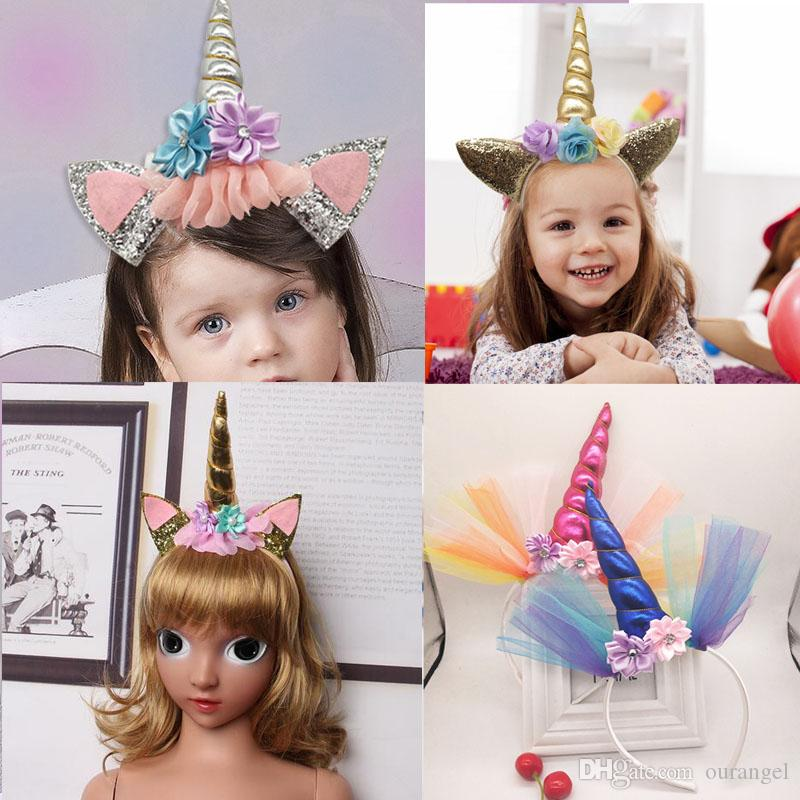 2018 Glitter Metallic Unicorn Headbands Girls Chiffon Flowers Hair band For Kids leaf flower Unicorn Horn Party Hair Accessories
