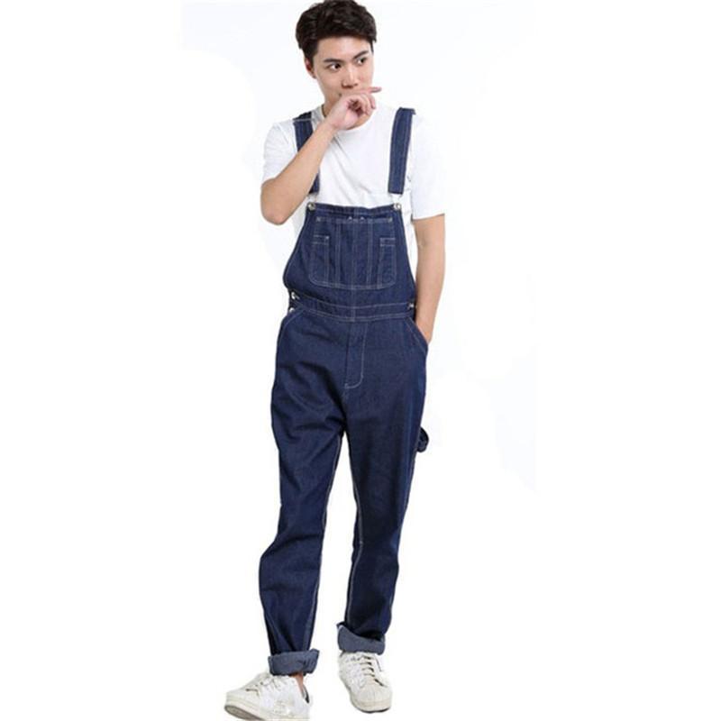 Compre MORUANCLE Moda Para Hombre Denim Babero Overoles Jeans Jumpsuits  Masculinos Pantalones Con Bolsillos Grandes Para Grande Y Alto Más El Tamaño  28 46 A ... 1617545a9de