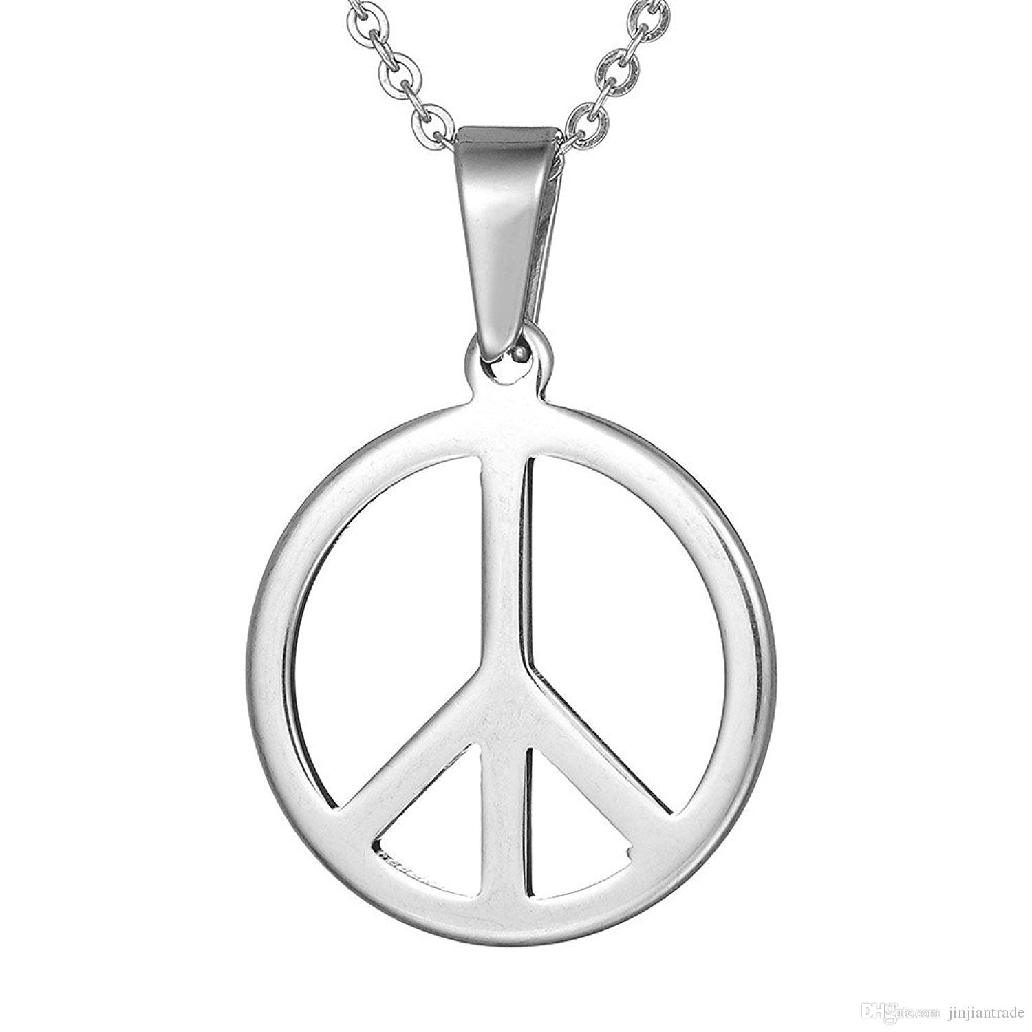 Wholesale hippie stainless steel jewelry silver peace sign pendant wholesale hippie stainless steel jewelry silver peace sign pendant necklace for men with steel ball chain chains to choose silver pendant necklace gold aloadofball Images