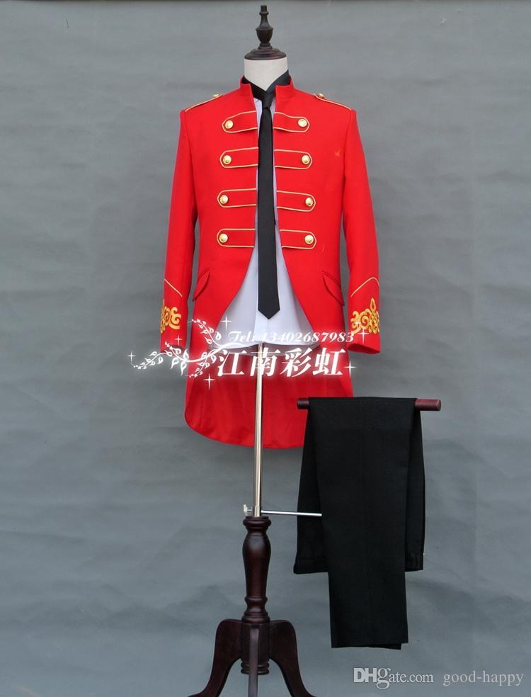 Recém Projetado Vermelho Tailcoat Homens Smoking Ternos Formais Ternos Formais Homens Trajes Ternos de Jantar de Baile Custom Made Jacket + Calças NÃO; 811
