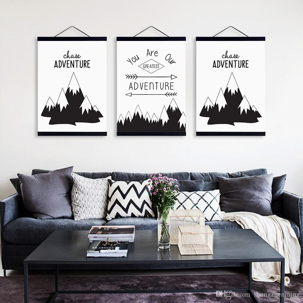 2018 Nordic Modern Black White Mountain Quote Wooden Framed Canvas ...