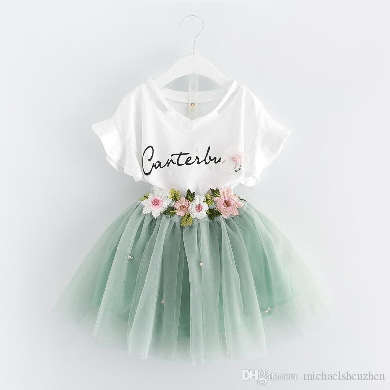 2 couleur filles INS lettres set de fleurs 2018 nouveau mode enfant t-shirt à manches courtes + jupe courte ensemble 2 pièces Rose costume vert B001