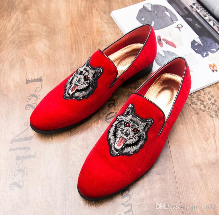 714bd5b050ee9 New Fashion Men Brand Velvet Loafers Italian Men's Dress Shoes ...