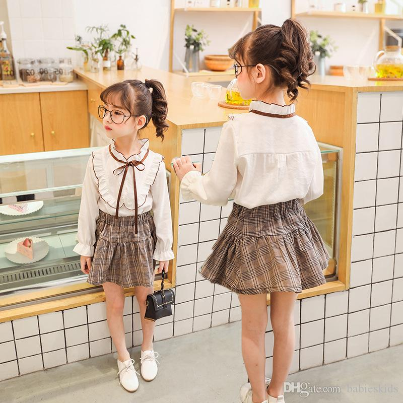 Girls Dress Summer Kids Preppy Style Silm A-line Skirt For Princess Wear T-Shirt Plaid Skirt For Baby Girl