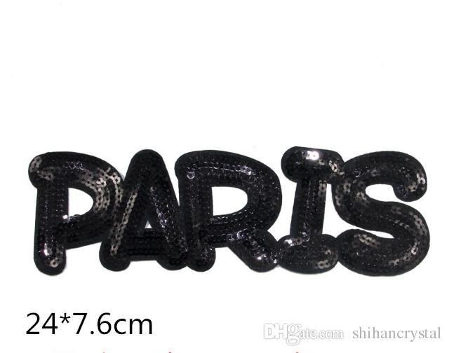Acquista patch di ferro nero con paillettes di parigi sul motivo