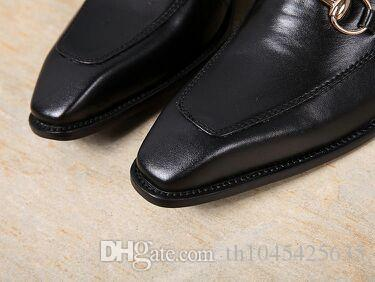 Oxfords in vera pelle nera 2018 scarpe da uomo stile italiano slip on fannullone scarpe da sera abito da ufficio tuta da sposa con fibbia 46