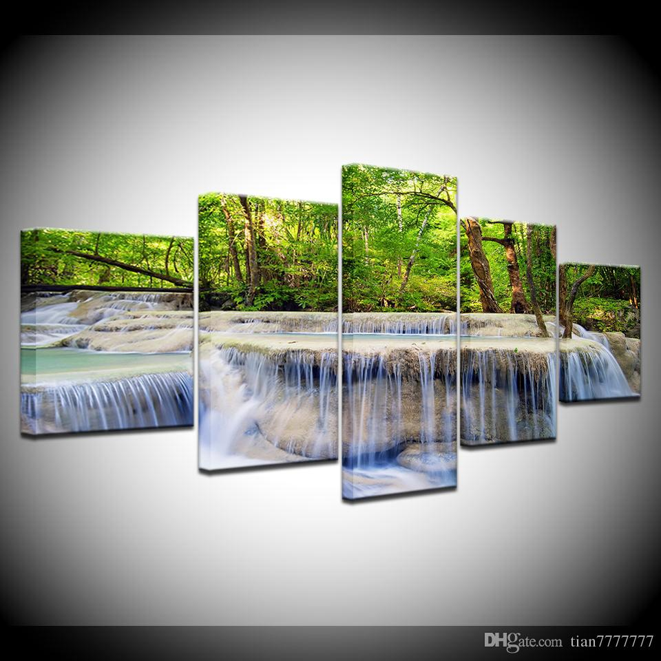 Natural Scenery Oil Painting On Canvas Modern Home Decoration Waterfall Landscape Wall Art Picture Print Poster No Frame