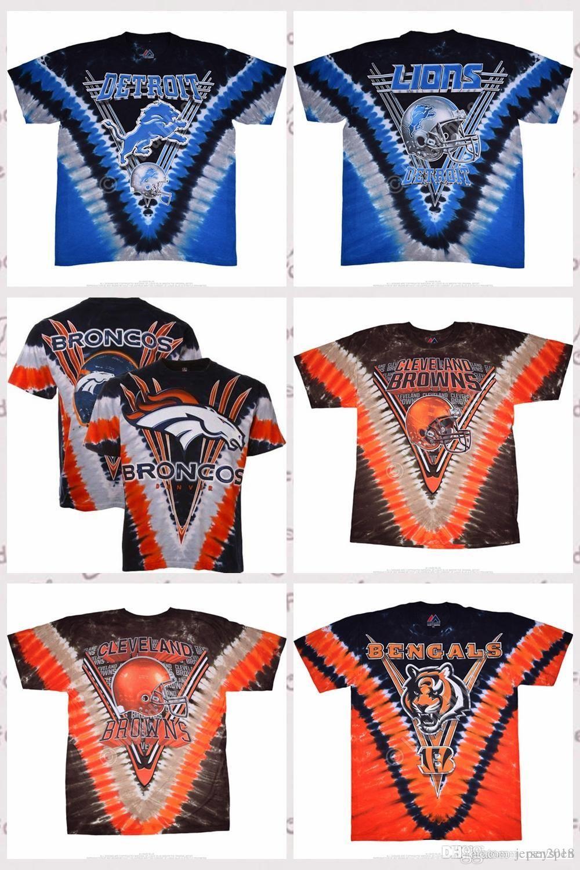 136e3e7e Brand new Men's Detroit Lions Cincinnati Bengals Denver Broncos Navy  Blue-Orange V Tie-Dye 3D printing T-Shirt Jerseys