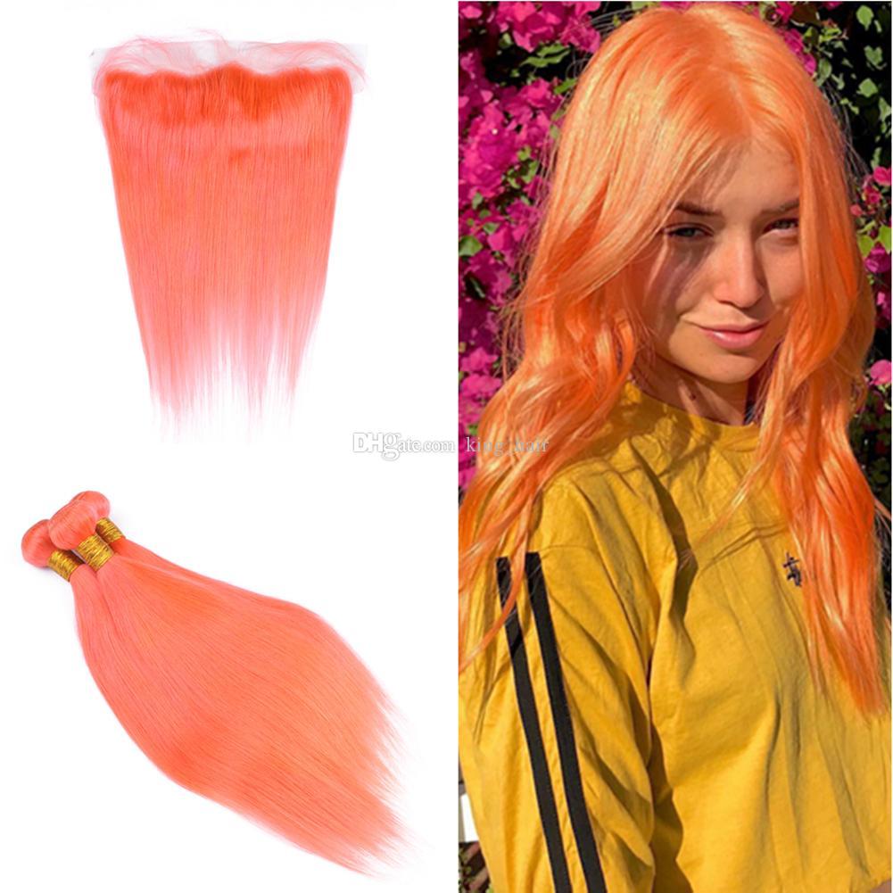 Orange Color Virgin Human Hair Extension With Lace Frontal Sun Orange Color Silky Straight Hair Weaves With Ear To Ear Frontal 13x4