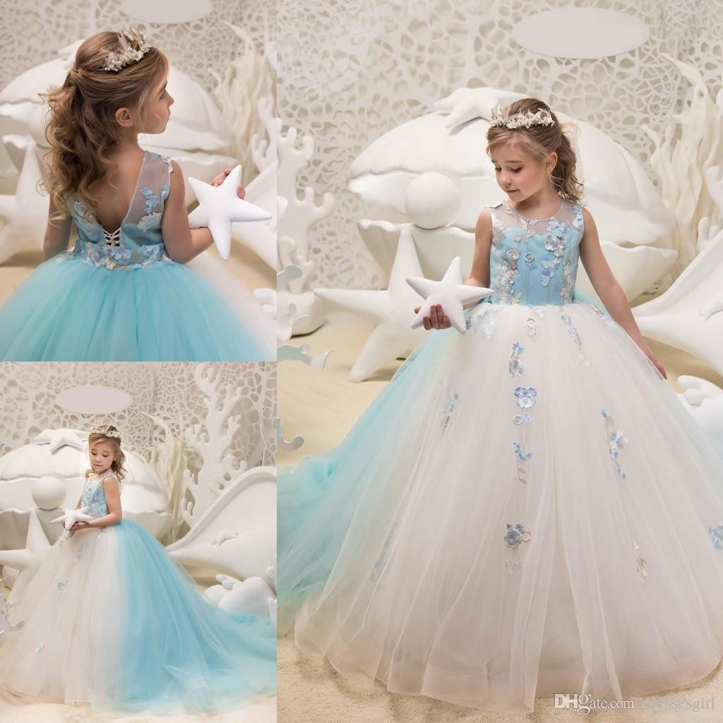 74cef06e7 First Communion Dresses Ball Gown Blue And White Flower Girl Dresses Tulle  Appliques Jewel Neck Long Wedding Guest Gowns Flower Girl Ivory Dress  Flower ...