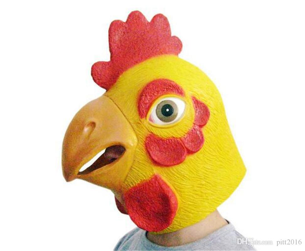 Chicken Mask HALLOWEEN MASK Cock Rooster Hen Head Face Animal Costume Halloween Party Prop Carnival Latex E1238 Male Masks For Masquerade