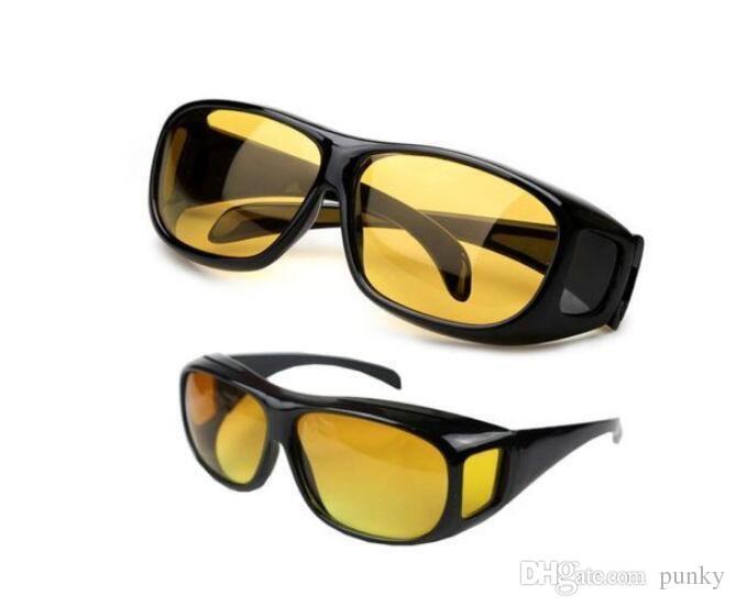 HD Visão Noturna Condução Óculos De Sol Dos Homens Lente Amarela Sobre Envoltório Em Torno de Óculos de Condução Escuro Óculos de Proteção Anti Glare