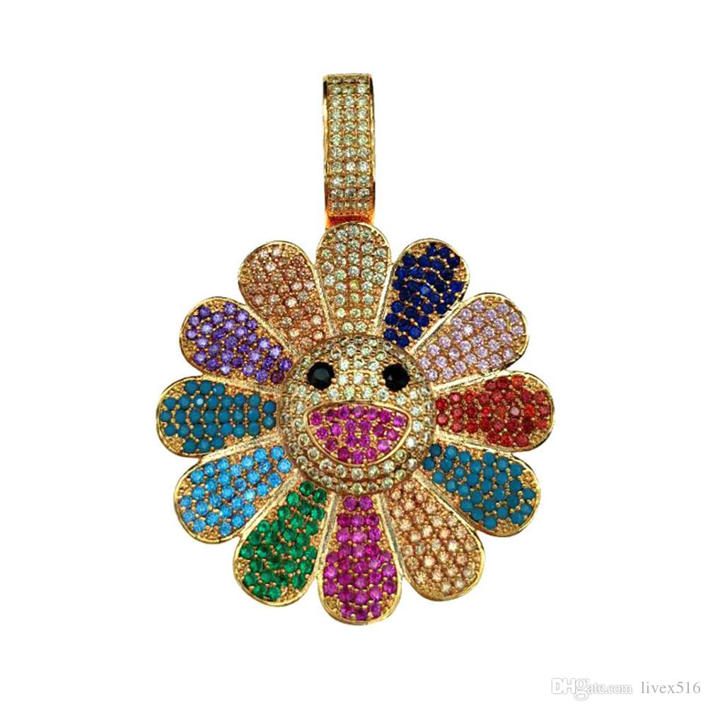 48596ad72f6b Wholesale Hip Hop Takashi Murakami Seven Color Flower Iced Out Color Zircon  Neckalce Gold Silver Color Plated Charm Chain Diamond Pendant Necklace Gold  ...