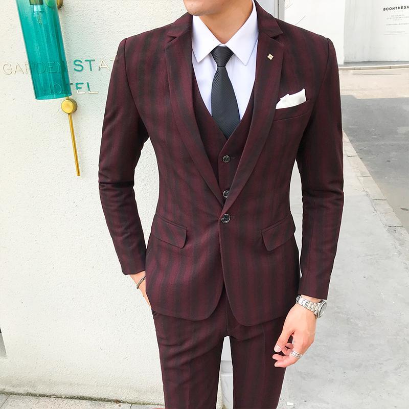 Baby Bettwäsche jacken + Hosen + Weste 2018new Hohe Qualität Plaid Casual Anzug Männer Anzüge Männer Boutique Hochzeit Formelle Anzüge Männlichen Blazer