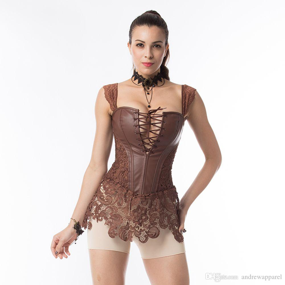 0b5f548c94914 steampunk Vest Women Punk Corsets Bustiers Shaper Gothic Style Slim Body  Leather Steel Boned Corset ONLY CORSET price