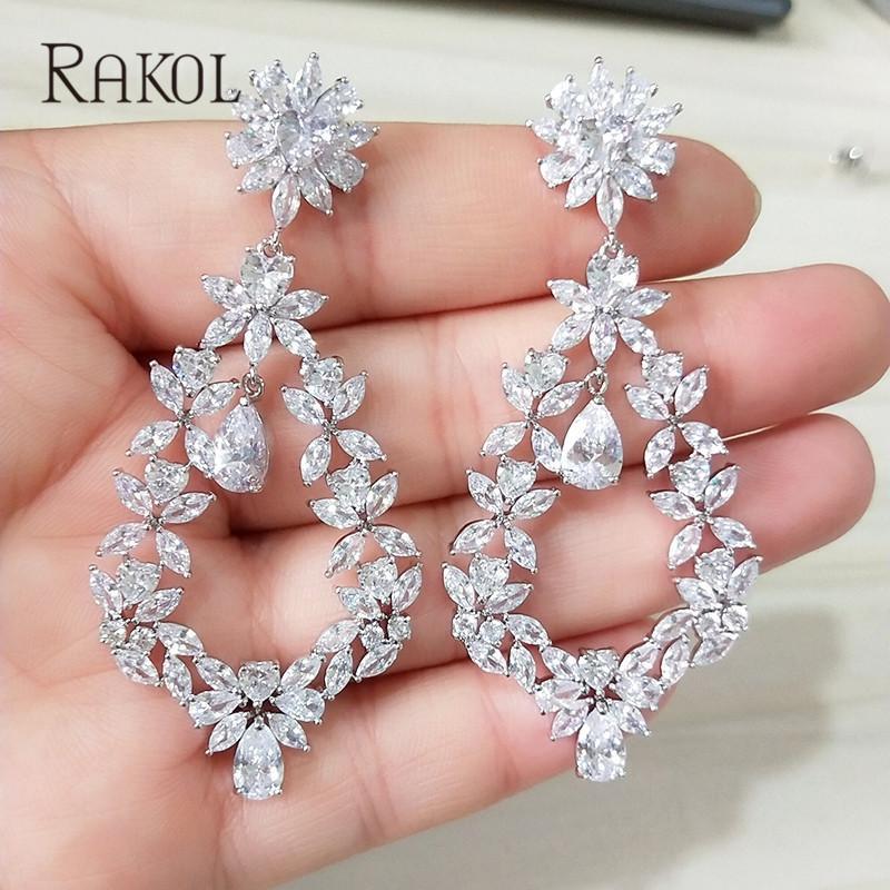 5489e4919bd5 2019 RAKOL Dubai Luxury AAA Cubic Zircon Long Flower Drop Big Size Fancy  Earrings For Women Bridal Wedding Jewelry C18111901 From Tong06