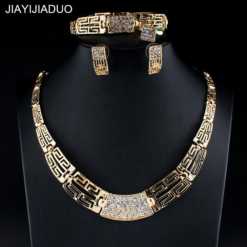 Jiayijiaduo Trendy Afrikanische Perlen Schmuck Set Gold-farbe Für Frauen Blume Halskette Ohrringe Für Hochzeit Geschenk Dropshipping Brautschmuck Sets Hochzeits- & Verlobungs-schmuck