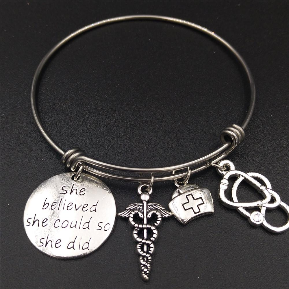 Stainless Steel Expandable Wire Bangle Nurse Graduation Jewelry Gift ...